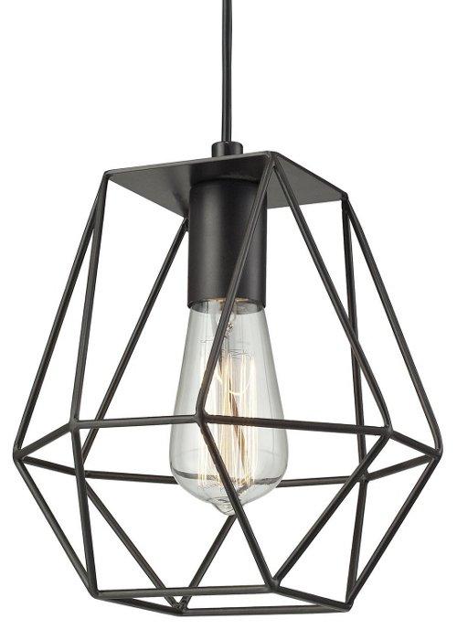1-light pendant, bronze, modern industrial lighting