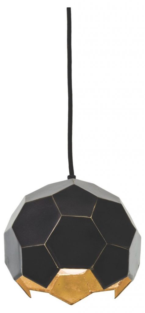 small polyhedron pendant, bronze:gold, modern industrial lighting