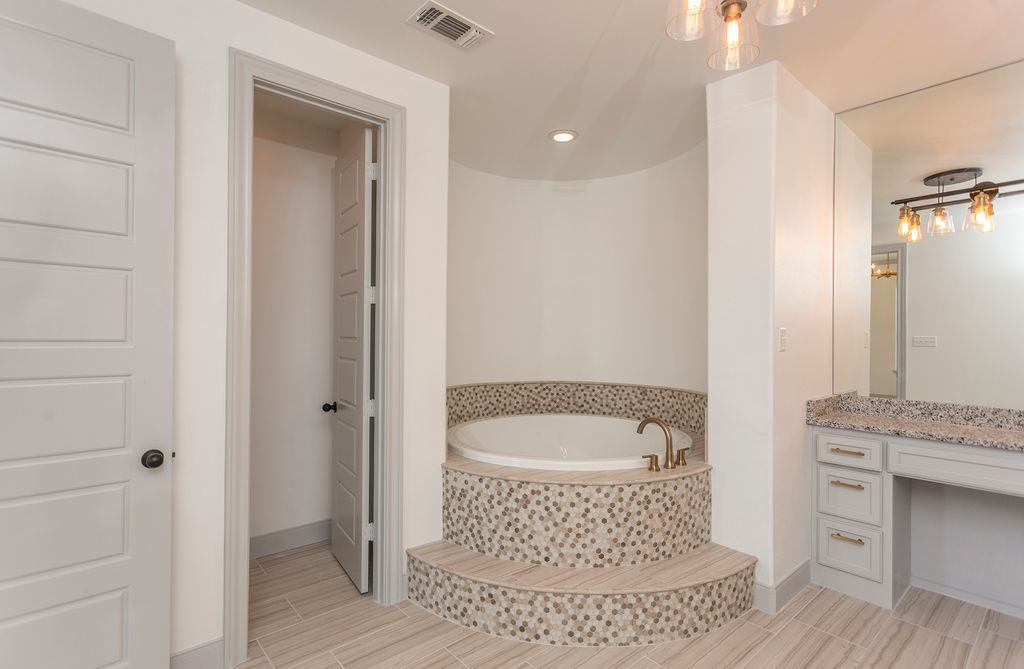 Enclave Court Home Tour, Master Bath Tub by Two Thirty Five Designs