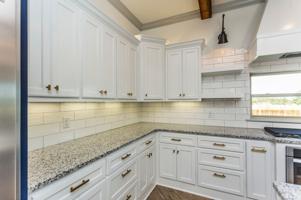Enclave Court Home Tour, White and Gold Kitchen Cabinets by Two Thirty Five Designs