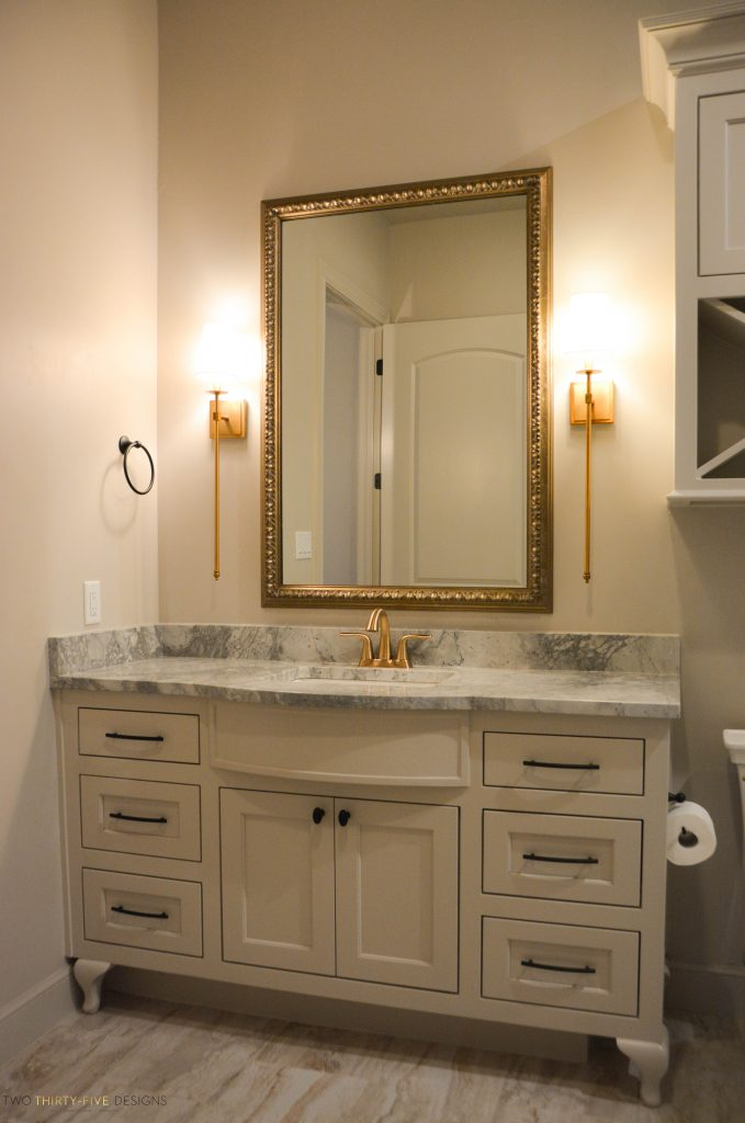 Rustic French Guest Bath by Two Thirty Five Designs