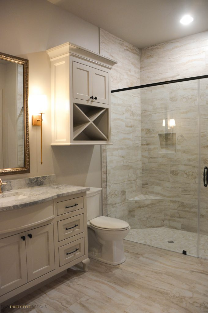 Rustic French Walk In Shower by Two Thirty Five Designs